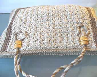 Vintage Raffia Straw Tote Bag
