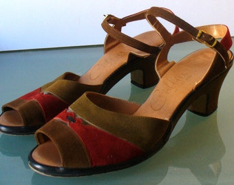 Vintage Cobbies Suede Heeled Sandal Shoes