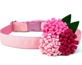 "Light Pink Dog Collar 3/4"" Flower Dog Collar SIZE SMALL"