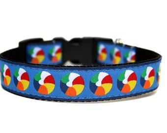 Summer Dog Collar Blue Red Beach Balls