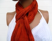 Hand Dyed Scarf in Burnt Orange Cotton Gauze