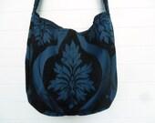 Bohemian Gypsy Bag Purse Navy Blue Chenille