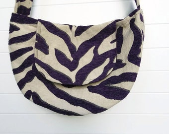 Hippy Bohemian Bag Purse Purple Plum Chenille Animal Stripes Hobo