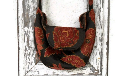 Boho Bag Purse with Brown Rust Chenille and Silk Dupioni