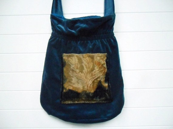 Bohemian Gypsy Bag Purse Teal Blue Antique Velvet