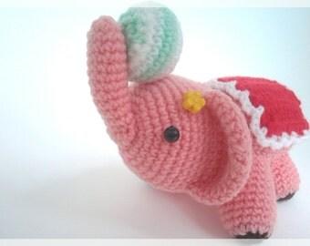 Little carnival elephant amigurumi, ready to ship.