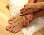 Egyptian Style Barefoot Sandals and Arm Slave Bracelet Set in Golden and Emerald