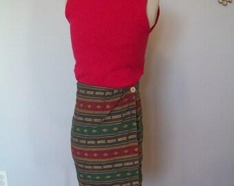 SALE High waist Southwestern print Mini Wrap Skirt (( Size Small to Extra Small))