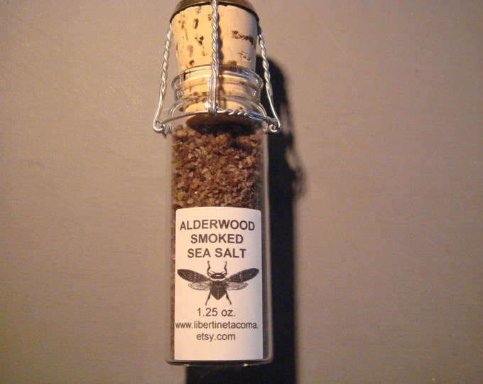 Alderwood Natural Smoked Gourmet Culinary Sea Salt in 1.25 ounce Glass Vial