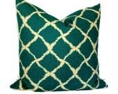 Iman Ikat Fabric Turquoise and Cream Decorative Pillow, Pillow Cover, Throw Pillow 18x18 20x20 12x20, Accent Pillow