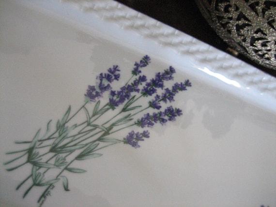 French Porcelain Porcelaine - Jacques Coeur Lavender Lavande Dresser Tray - Made in France