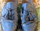 Vintage 90s Tassel Croc Pattern Leather Loafers