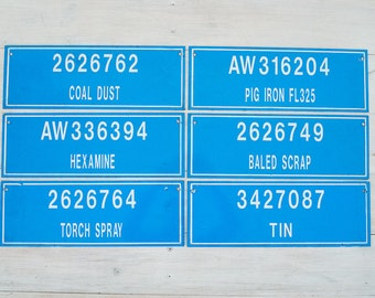 vintage industrial electric blue factory signs (24 in total)