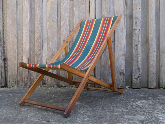reserved for zara vintage striped canvas folding deck chair