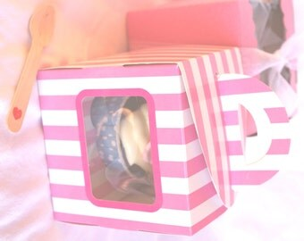 5 PiNK  Candy Stripe cupcake boxes with WiNDOW- PiNK-for Favors or Cupcakes-5
