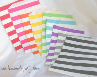 27RaiNBoW PaCK MeDiUM Stripe PaPER BAGs---party favors--gifts---weddings--showers--27ct