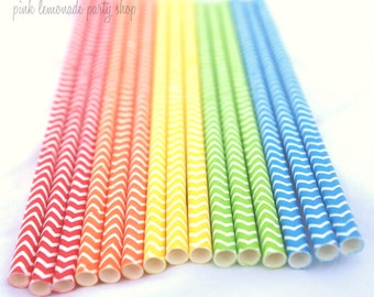 25  Rainbow Mix CHeVRoN PaPer Straws--- with Free Printable Flags