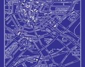 Amsterdam Map -  Vintage Map of Downtown Amsterdam Netherlands Blueprint Print Poster