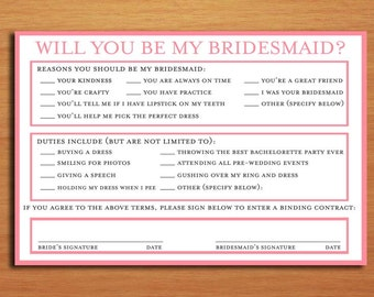 Will You Be My Bridesmaid / Bridesmaid Contract Customized Printable Invitations /  DIY