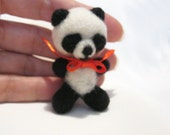 Needle Felted Brooch Little Panda , Ecofriendly, Handmade Soft Miniature Toy