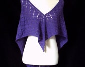 Hand knitted women's lacy purple triangular shawl / wrap.