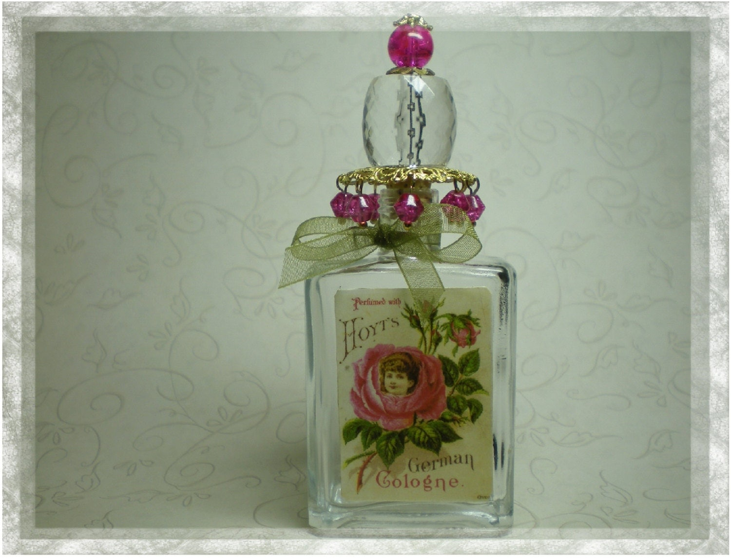 Antique Rose Label Perfume Bottle