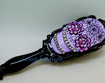 Hair brush pocket-sized brush skull handmade day of dead SHB0002