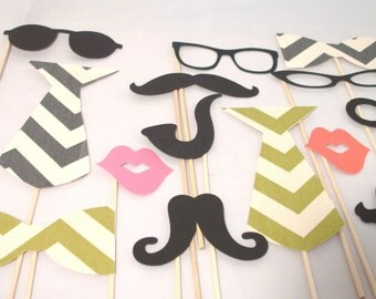Chevron Photo Booth Props - 12 Piece Wedding Photo Props