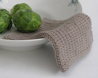 Hand knitted dish cloth - wash cloth - soft cotton suede beige