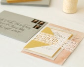 Fun Peach Gold Silver Watercolor Wedding Invitation