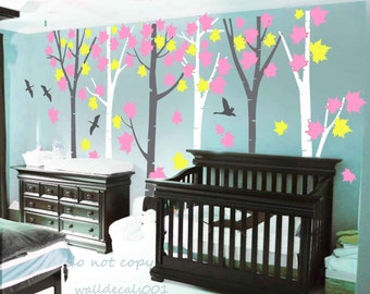 tree Wall Decals Kids decal baby nursery decalnature room decor wall decor wall art  - Birds in  Forest 6 trees
