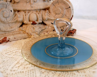 Vintage Serving Plate, Vintage Blue and Gold Handled Serving Sandwich Platter/Plate from The Eclectic Interior