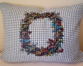 SALE + Ships Free! Ready to Ship! Colorful Wreath Linen Pillow Cover Handmade Cottage Style Blue and  White Check  12 X 16 inches