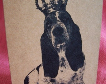 Basset Hound Dog With Crown Set of ANY 3 Greeting Note Cards Invitations Kraft Cardstock matching envelopes 5 x 7""