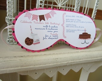 Milk and Cookies Sleeping Mask Invitation Custom Die Cut - Perfect for Sleepover  Birthday, Beauty or  Spa Themed, or Glam Camp  Parties