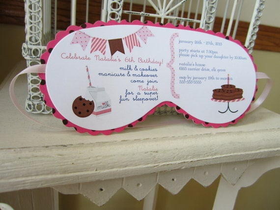 Milk and cookies sleeping mask invitation by for Spa mask invitation template