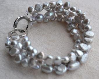 gray pearl bracelet,freshwater pearl bracelet,4 rows 8 iches 6-10mm baroque freshwater pearl bracelet,wedding bracelet,real pearl bracelet