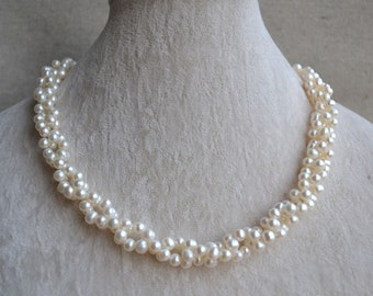pearl necklace,twisted necklace,18 inches 4-5mm freshwater pearl necklace,white pearl necklace,wedding pearl necklace, statement necklace