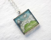 Mountains Necklace - Original Hand Painted Watercolor Pendant