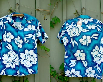 vintage Hawaiian Shirt Blue and White Floral Hibiscus 1980s