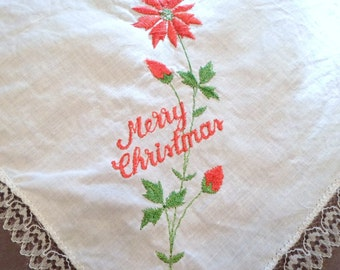 Embroidered Handkerchief, Red on White, Floral, Linen Hanky, Womens Hankies, Wedding Handkerchief, Vintage Handkerchiefs