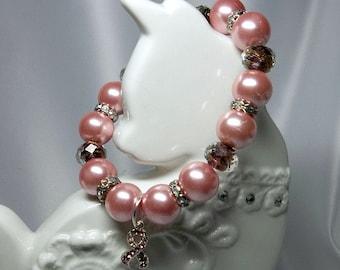 Pink Pearl Breast Cancer Awareness Bracelet