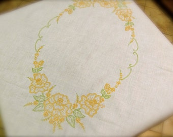 Vintage Tablecloth, Embroidered Yellow and Apple Green