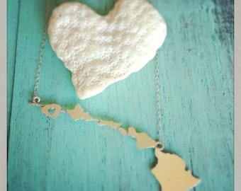 Hawaiian Islands, Heart in Kauai, Hawaiian Islands Chain Sterling Silver or 14k gf Necklace by Sparrow Seas