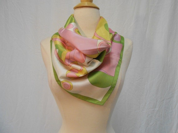RESERVED STANA: Green & Pink Abstract MOD Bubble Print Silk Scarf / Large Square Scarf 26 x 26