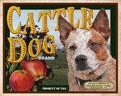 Red Australian Cattle Dog Small Wooden Crate