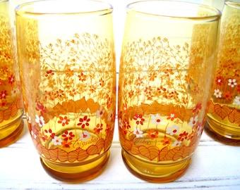 Six  Anchor Hocking Triguba design glasses goldenrod