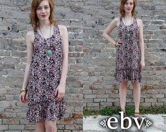 90s Grunge Dress Floral Mini Dress Floral Sundress Summer Dress Floral Dress Festival Dress Vintage 90s Floral Racerback Mini Sun Dress S M