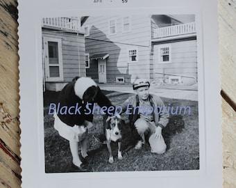 Vintage Photo Kids Meet the New Dog,  Photography, Paper Ephemera, Antique, Snapshot, Old Photo, Black and White