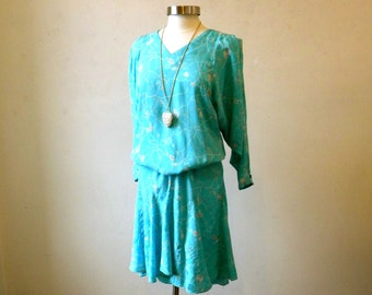 Vintage Silk Dress / 80s Flowy Versatile Beautiful Quality / Aqua Abstract / M